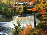 PowerPoint Template - upper tahquamenon water falls in michigan fall time
