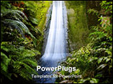 PowerPoint Template - Waterfall flowing down wall in tropical jungle