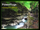 PowerPoint Template - eautiful landscape of slow motion waterfall cascading over rocks which show various layers and effe