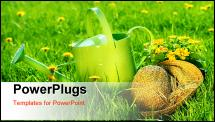 PowerPoint Template - Watering can in the grass with old straw hat