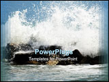 PowerPoint Template - waves crashing to the coast rocks italy mediterranean sea