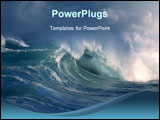 PowerPoint Template - a big wave crashing towards the shore, Beautiful photo
