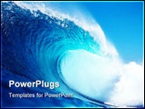 PowerPoint Template - big blue wave surfing in the ocean