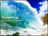 PowerPoint Template - giant wave breaking in clear colorful waters of hawaii