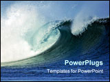 PowerPoint Template - a big wave crashes on to the shore