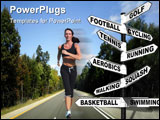 PowerPoint Template - Concept image of a signpost showing ten different ways to exercise for a healthy lifestyle.