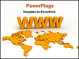 PowerPoint Template - symbol of www with world map