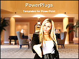 PowerPoint Template - blond businesswoman gesturing
