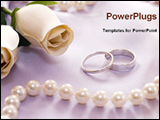 PowerPoint Template - wedding rings with flower and perl necklace