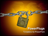 PowerPoint Template - Lock with chain chain has broken link