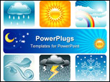 PowerPoint Template - Set of Weather and Climate vector illustration layered
