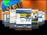 PowerPoint Template - even technology internet business websites are standing upright with a reflection. There is one big