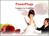 PowerPoint Template - andsome groom with a proposal for marriage and a beautiful shocked bride in her bridal dress lookin