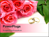 PowerPoint Template -  pink bunch of roses with green rose leaves wedding wording and wedding and engagement rings over w