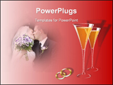 PowerPoint Template - nother beautiful wedding template with lots of room to write, champagne glasses, wedding bands over