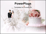 PowerPoint Template - a bride and groom wedding cake decoration.