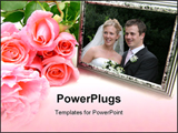 PowerPoint Template - A bunch of pink roses and a silver photo frame.