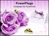 PowerPoint Template - Purple roses and blank invitation card with a bow