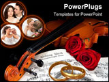 PowerPoint Template - Sheet music of the Wedding March with roses and violin