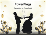 PowerPoint Template - illustration with wedding couple silhouette isolated on floral background
