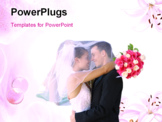 PowerPoint Template - A beautiful bride and handsome groom at church during wedding