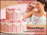 PowerPoint Template - Two tiered Pink wedding cake with white icing