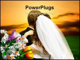 PowerPoint Template - young pair on the field after wedding