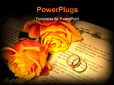 PowerPoint Template - wo wedding rings and roses on a bible with Genesis text - the decorations in the book are copied fr