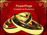 PowerPoint Template - linked gold wedding rings on white background