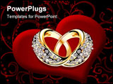 PowerPoint Template - Gold wedding rings and diamonds Vector illustration