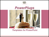 PowerPoint Template - edding cake with two glasses of champagne.Ideal template for presentation on wedding services, wedd