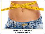PowerPoint Template - Girl measuring waist with measuring tape.
