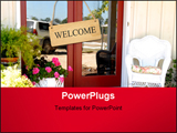 PowerPoint Template - elcoming entry to a cottage home. the entry has a white wicker chair plants and flowers to say come