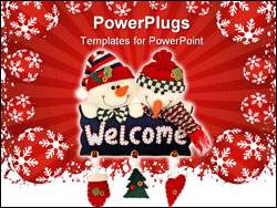 PowerPoint Template - Christmas holiday snowmen with welcome sign isolated on white