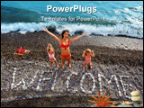 PowerPoint Template - nscription from stones WELCOME at stony coast young woman and two little girls lifted hands upwards