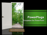 PowerPoint Template - Door open in the real world - 3d