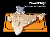 PowerPoint Template - d illustration of a glass map of India floating over top of a brown welcome mat on a black reflecti