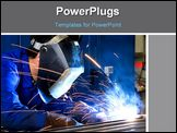 PowerPoint Template - Welder wearing protective clothes at work on a steel frame