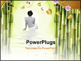 PowerPoint Template - Nude woman surrounded by bamboo shoots and water with reflex ion
