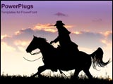 PowerPoint Template - Cowboy rides horse into sunset.