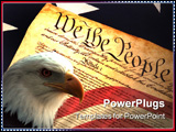 PowerPoint Template - Close up of United States Constitution on Flag