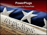 PowerPoint Template - The US Constitution wrapped with a US flag.
