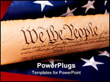 PowerPoint Template - Usa Flag Gavel and US Constitution concept.