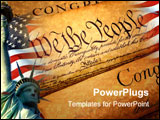 PowerPoint Template - declaration of independence rolled up