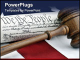 PowerPoint Template - Gavel and US Constitution atop an American Flag