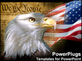 PowerPoint Template - A bald eagle, the American flag and the Consitution.