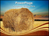 PowerPoint Template - Haystack in the field photographed autumn day