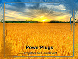 PowerPoint Template - Scenic country landscape with wheat field at sunset