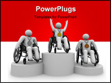 PowerPoint Template - First Second and Third place champions with physical disabilities in their wheelchairs
