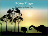PowerPoint Template - illustration of two elephants playing at sunrise